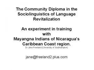 The Community Diploma in the Sociolinguistics of Language