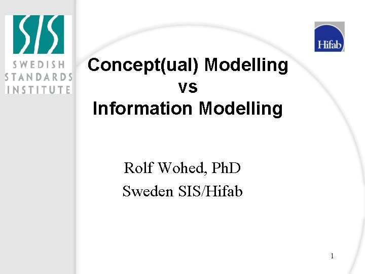Conceptual Modelling vs Information Modelling Rolf Wohed Ph