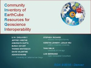 Community Inventory of Earth Cube Resources for Geoscience