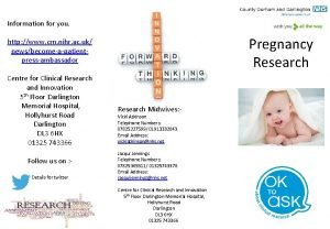 Information for you Pregnancy Research http www crn