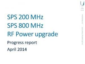 Progress report April 2014 LIUSPS meeting 30 April