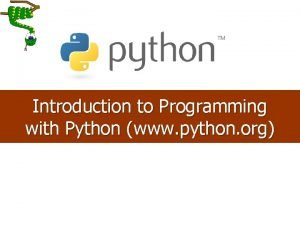 Introduction to Programming with Python www python org