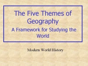 The Five Themes of Geography A Framework for