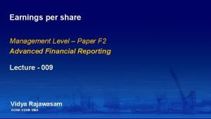 Earnings per share Management Level Paper F 2