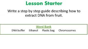 Lesson Starter Write a step by step guide