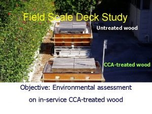 Field Scale Deck Study Untreated wood CCAtreated wood
