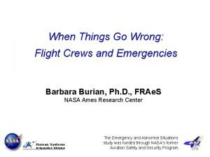 When Things Go Wrong Flight Crews and Emergencies