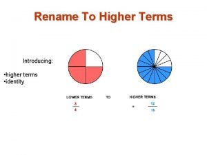 Rename To Higher Terms Introducing higher terms identity
