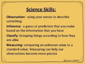 Science Skills Observation using your senses to describe