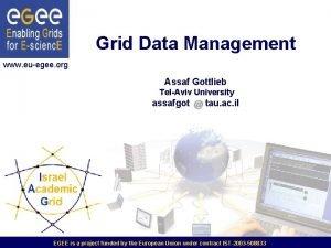 Grid Data Management www euegee org Assaf Gottlieb
