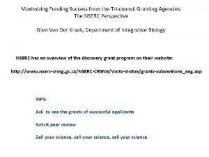 Maximizing Funding Success from the Tricouncil Granting Agencies