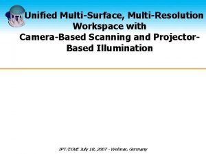 A Unified MultiSurface MultiResolution Workspace with CameraBased Scanning