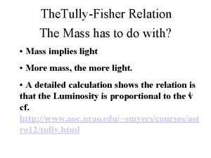 The TullyFisher Relation The Mass has to do