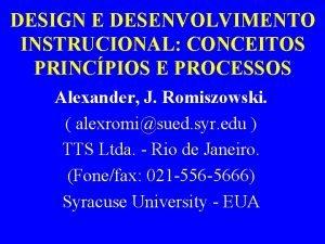 DESIGN E DESENVOLVIMENTO INSTRUCIONAL CONCEITOS PRINCPIOS E PROCESSOS