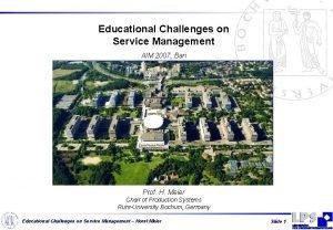 Educational Challenges on Service Management AIM 2007 Bari
