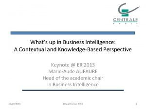Whats up in Business Intelligence A Contextual and
