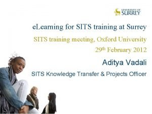 e Learning for SITS training at Surrey SITS