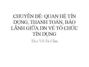 CHUYN QUAN H TN DNG THANH TON BO