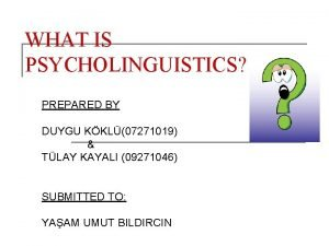 WHAT IS PSYCHOLINGUISTICS PREPARED BY DUYGU KKL07271019 TLAY