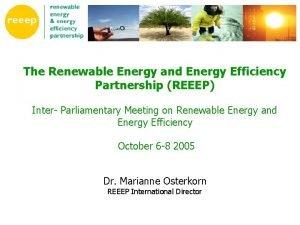 The Renewable Energy and Energy Efficiency Partnership REEEP