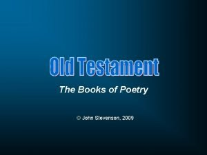 The Books of Poetry John Stevenson 2009 Book