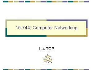 15 744 Computer Networking L4 TCP TCP Congestion