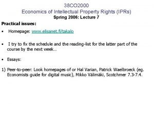 38 CO 2000 Economics of Intellectual Property Rights
