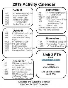 2019 Activity Calendar September August 85 819 820