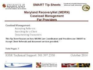 SMART Tip Sheets Department of Health Mental Hygiene
