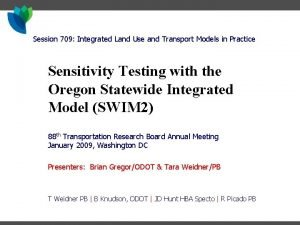 Session 709 Integrated Land Use and Transport Models