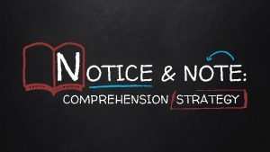 N OTICE NOTE COMPREHENSION STRATEGY THE STRATEGY Notice