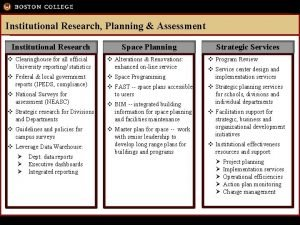 Institutional Research Planning Assessment Institutional Research Space Planning