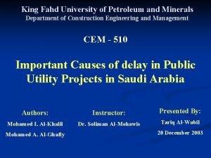 King Fahd University of Petroleum and Minerals Department