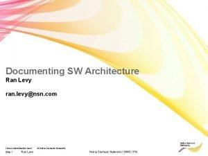 Documenting SW Architecture Ran Levy ran levynsn com