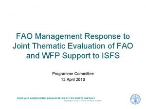 FAO Management Response to Joint Thematic Evaluation of