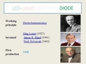 LEDLIGHT EMITTING DIODE Working principle Electroluminescence Invented Oleg