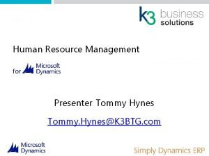 Human Resource Management for Presenter Tommy Hynes Tommy