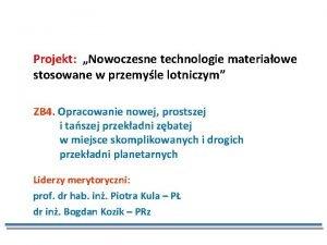 Projekt Nowoczesne technologie materiaowe stosowane w przemyle lotniczym