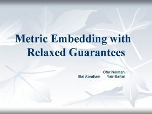 Metric Embedding with Relaxed Guarantees Ofer Neiman Ittai