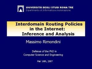 UNIVERSIT DEGLI STUDI ROMA TRE Dipartimento di Informatica