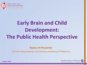 Early Brain and Child Development The Public Health