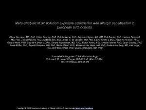 Metaanalysis of air pollution exposure association with allergic