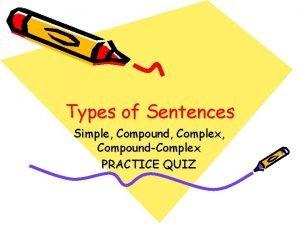 Types of Sentences Simple Compound Complex CompoundComplex PRACTICE