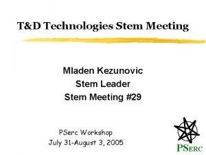 TD Technologies Stem Meeting Mladen Kezunovic Stem Leader
