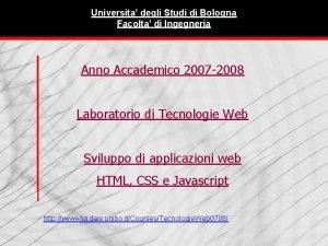 Universita degli Studi di Bologna Facolta di Ingegneria