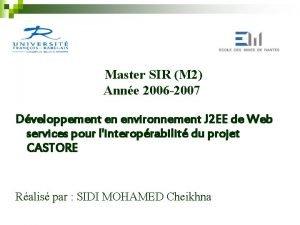 Master SIR M 2 Anne 2006 2007 Dveloppement