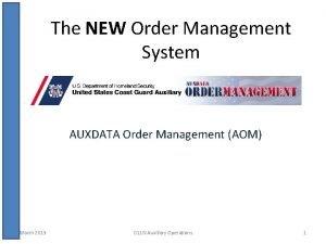 The NEW Order Management System AUXDATA Order Management