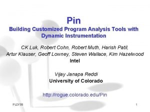 Pin Building Customized Program Analysis Tools with Dynamic