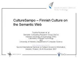 Culture Sampo Finnish Culture on the Semantic Web