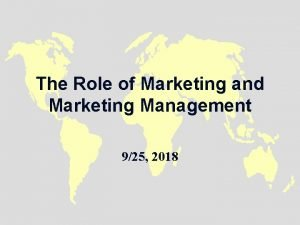 The Role of Marketing and Marketing Management 925